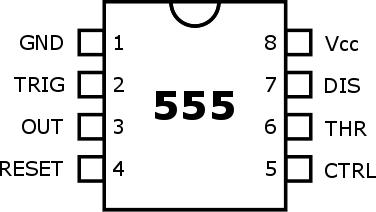 Rozmístění vývodů obvodu NE555 v pouzdru DIL8.