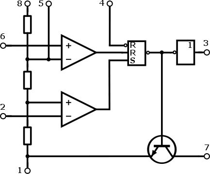 Blokové schéma obvodu NE555.