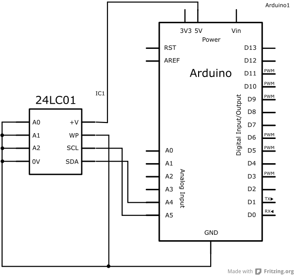 Schéma zapojení EEPROM a Arduino Uno.