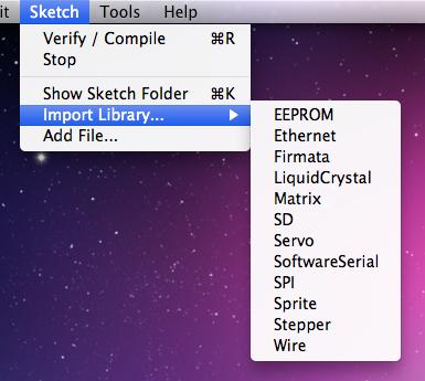 Přehled dostupných knihoven v Arduino IDE.