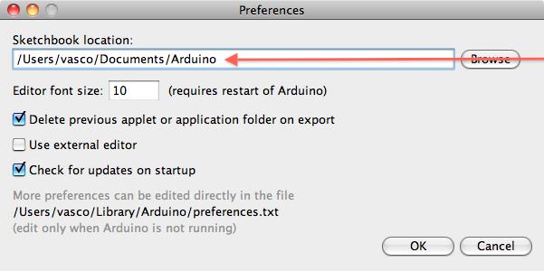 Nastavení defaultního adresáře pro programy a knihovny.
