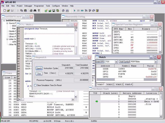 MPLAB IDE od firmy Mikrochip.