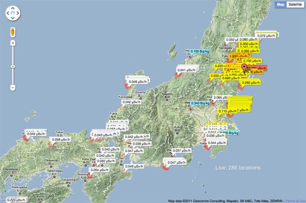 Data z Geiger-Müller detektorů z různých koutů Japonska.