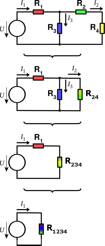 Metoda postupného zjednodušování. Hledáme napětí a proud na rezistoru R4.