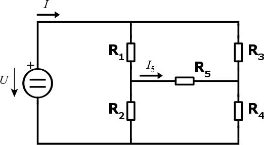 Můstkové zapojení, na kterém si ukážeme metodu smyčkových proudů.