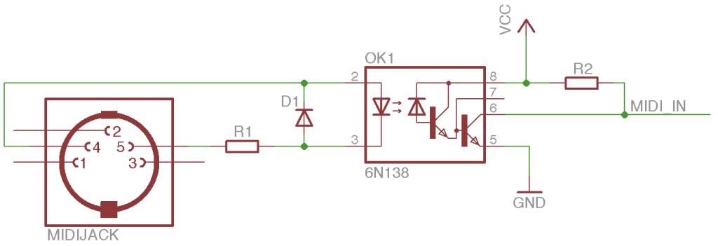 Vstup MIDI do Arduina.