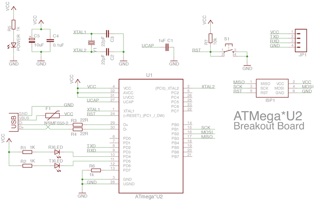 Zapojení USB-UART převodníku s mikrokontrolérem ATMega8U2.