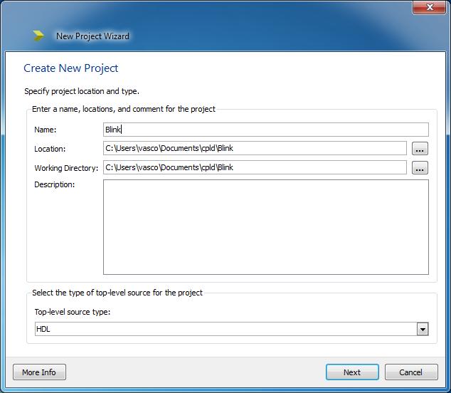 Založení nového projektu v ISE Webpack.