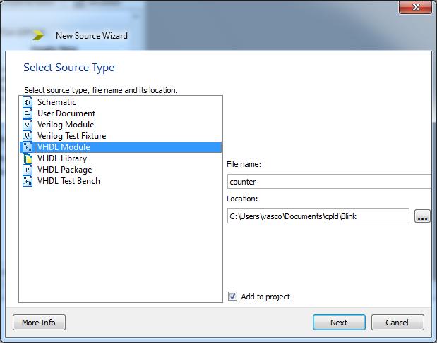 Přidejte nový VHDL Modul s názvem counter.