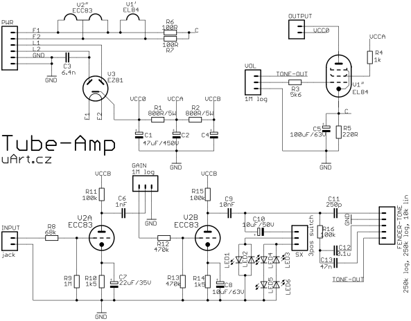 Zapojení elektronkového zesilovače.