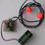 Realizace zapojení na univerzální DPS, diody jdou na 1m dlouhém vodiči.