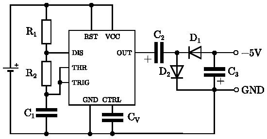 Nábojová pumpa s NE555 pro záporné výstupní  napětí.
