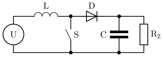 Blokové schéma step-up měniče.