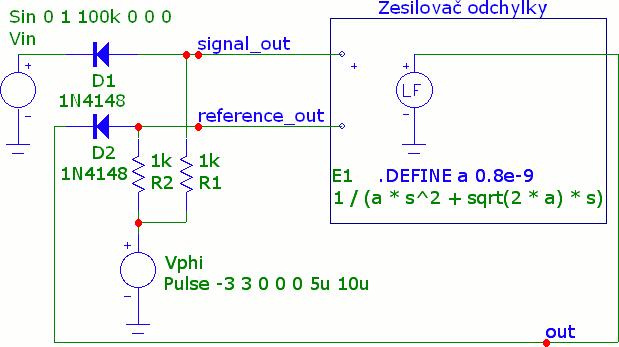 Schéma simulované v programu Micro-Cap