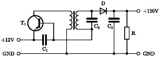 Tranzistorový měnič s výstupním napětím 120V