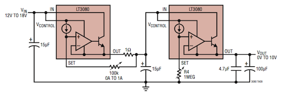 Varianta zdroje s LT3080 (zdroj datasheet LT).