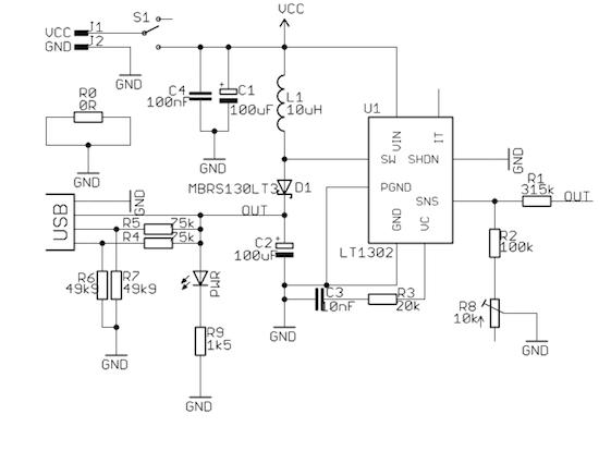 Schéma kapesního zdroje s LT1302.