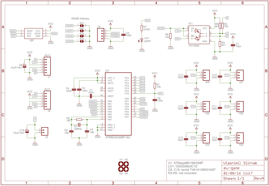 Complete schematics of eu-gate PCB.