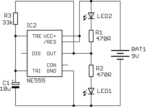 """""""Semafor"""", jednoduché zapojení s časovačem NE555."""