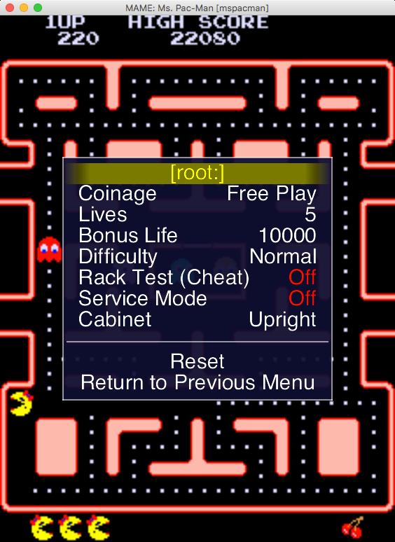 Nastavení hry pomocí tzv. dip switches.