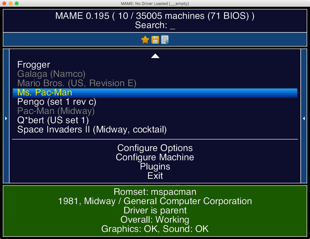 Hlavní menu emulátoru MAME s výběrem několika her.