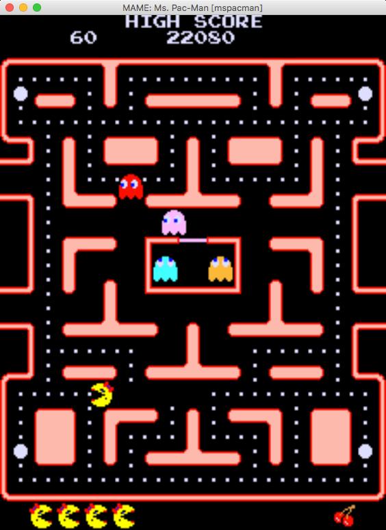 Ukázka ze hry Ms. Pac-Man z roku 1982.